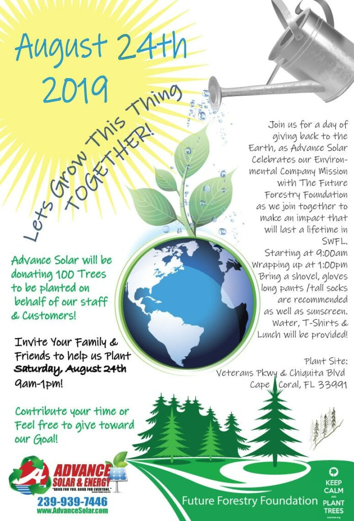 Flyer for Tree Planting with Garden Club of Cape Coral August 24, 2019